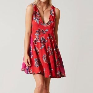 Free people mini dress red and pink NWT